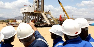 Visitors during a tour of the oil rig at Ngamia 1 in Turkana County on April 05, 2012. Oil and gas companies operate in marginal areas where insecurity is common.