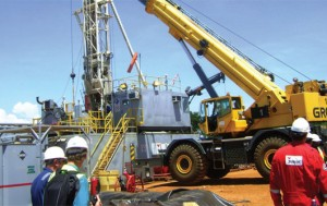 A Tullow oil site where international companies provide drill site services.