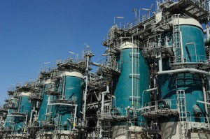 Air separation towers at Shell's Pearl GTL plant in Qatar