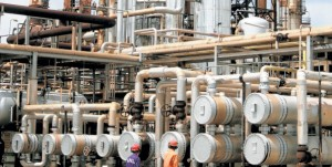 Kenya Petroleum Refinery, Mombasa. Uganda consumes about 550,000 cubic metres of refined fuel annually, 85pc of which is imported through Kenya and 15pc through Tanzania.