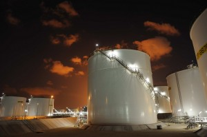 Storage tanks for liquids made at Shell's Pearl GTL plant in Qatar