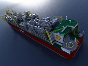An artist's drawing of the Royal Dutch Shell's future Prelude Floating Liquefied Natural Gas project in Australia.