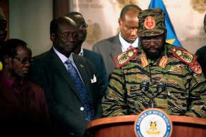 President Salva Kiir, in military uniform, said his forces were in control after a night of shooting in the capital.Reuters