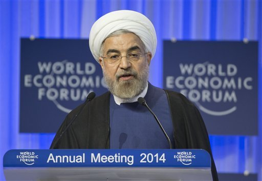 Iranian President Hassan Rouhani, speaks during a session of the World Economic Forum in Davos, Switzerland, Thursday, Jan. 23, 2014.  Read more here: http://www.sanluisobispo.com/2014/01/23/2889236/iran-president-urges-new-syrian.html#storylink=cpy