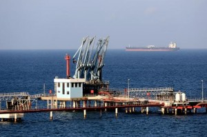 Photo taken on Aug. 20, 2013 shows a view of pipelines and a loading berth of the Marsa al Hariga oil port in the city of Tobruk, about 1,500 km east of Tripoli, Libya.