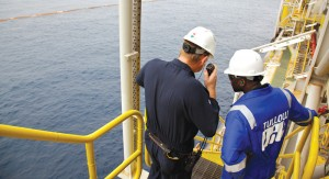 Tullow engineers on the Sedco 702, offshore Ghana