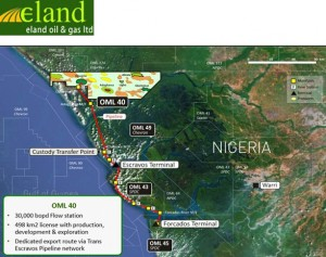 Eland Oil & Gas restarts production from the Opuama oil field in OML 40 onshore Nigeria.
