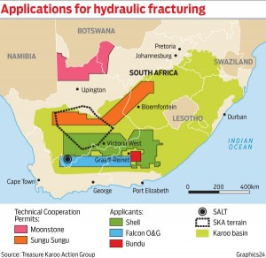 Applications for shale gas prospecting in South Africa.