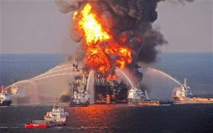 Fire boat response crews spray water on the blazing remnants of BP's Deepwater Horizon offshore oil rig on April 21, 2010, the worst offshore oil spill in U.S history.