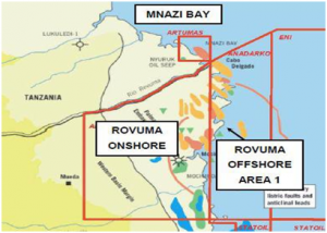 The Rovuma basin is circa 400km long and 160km wide and spans the southern border of Tanzania and Mozambique at the coast.