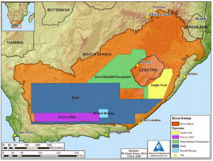 Map Showing Operator Permits in the Karoo Basin, South Africa. The Karoo Basin is large, extending across nearly two-thirds of the country, with the southern portion of the basin potentially favourable for shale gas.