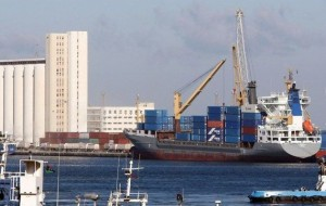 A cargo ship at the port of the Libyan capital Tripoli.