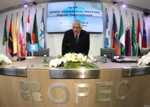 Secretary General Abdullah al-Badri arrives for news conference following oil ministers meeting at OPEC headquarters, Vienna, Dec. 4, 2013.