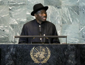 Nigeria's President Goodluck Jonathan addressing the UN General Assembly, 21 September, 2011.