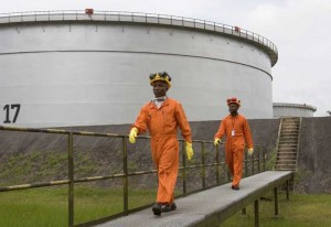 Nigerian workers at a Shell LNG plant in Nigeria.