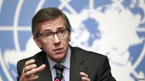 UN secretary-general to Libya envoy Bernardino Leon talked to reporters after January 14 negotiation between some of the militias and officials of the divided country.