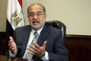Egypt's Oil Minister Sherif Ismail talks during an interview with the media in Cairo