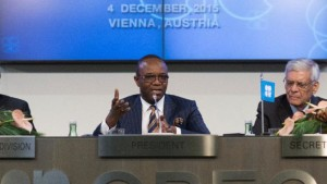 Nigeria's Oil Minister and OPEC President Emmanuel Ibe Kachikwu, left, and OPEC Secretary General Abdullah al-Badri address a news conference in Vienna on Friday.