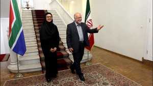 Iran's Minister of Petroleum Bijan Namdar Zangeneh welcomes South Africa's Energy Minister Tina Joemat-Pettersson