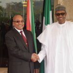 South African President Jacob Zuma, left, and Nigerian President Muhammadu Buhari at the Presidential Palace, Abuja, Nigeria, March 8, 2016. (AP Photo).
