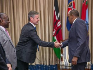 Tullow Oil Chief Operating Officer Paul McDade when he briefed President Kenyatta at State House on Wednesday, August 24. /PSCU