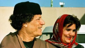 Former Libyan leader Moammar Gadhafi and his wife, Safiya