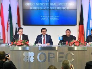 From left to right, Mohamed Hamel, chairman of OPEC, Mohammed Al-Sada, Qatar's minister of energy and industry and president of OPEC, Mohammed Barkindo, secretary general of OPEC, and Hasan Hafidh, head of public relations of OPEC, attend a news conference following the 171st Organization of Petroleum Exporting Countries (OPEC) meeting in Vienna, Austria, on Wednesday, Nov. 30, 2016. Akos Stiller | Bloomberg | Getty Images
